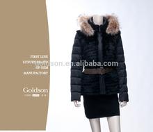 2015 Fashionable Winter Coat Style Short Warm Real Fox Fur Collar Black Women Spring Duck Down Jacket with Belt