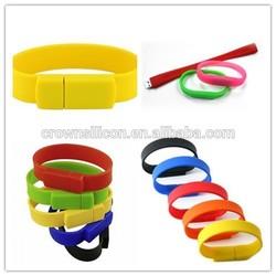 2014 New products Hot sales Custom logo usb silicone wristband usb silicone bracelet