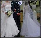 Custom service 2015 latest vestido de noiva a line satin bow tie back simple 3/4 long sleeves lace wedding dress patterns