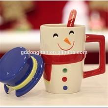 wholesale factory novelty ceramic cup cartoon Christmas snowman coffee mug for home decor