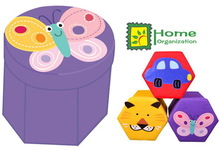 lovely butterfly design hex shape sitting storage box for kids