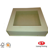 High quality cardboard gift box for photo album with PVC window packaging for gift with magnetic