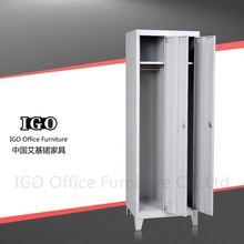 IGO-Furniture 2 doors living room metal locker wardrobe trunk cabinet with leather covered