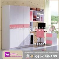 Latest design lacquer bedroom closet sliding door wardrobe with customized bookrack