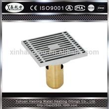 XINHANGMU brass floor drain chrome plated 100*100mm 4 inch linear drain