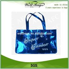 Hot sell Blue Color Metallic shopping bag non woven, reusable bag