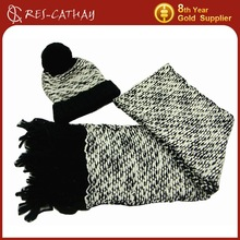 2015 new fashion knitted winter scarf hat set