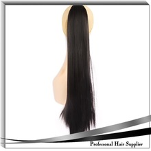 Good quality hair ponytail clip claw 24inch straight ponytail with claw 175g black synthetic hair clip with jaw