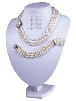 3 Rows 6-7mm Cheap Pearl Necklace and Earring Set Bracelet