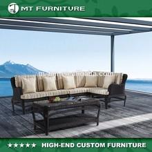 metal and plastic rattan sectional sofa set outdoor furniture