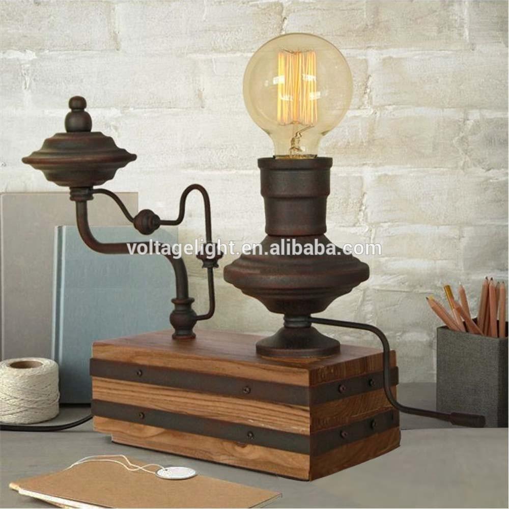 빈티지 복고풍의 금속 장식 책상 램프 에디슨 전구 나무 기본 ...