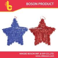 star shape shiny tinsel/christmas foil hanging decoration