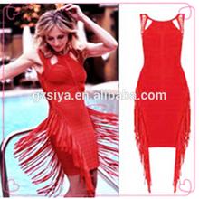 Elegant Red Tassel Adult Lady Girls Party Dress for Birthday