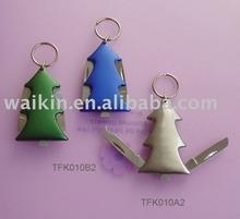 Christmas Tree design Utility Pocket knife with keyring