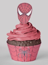2015 popular Spiderman cupcake wrappers & toppers birthday party decoration unique wedding favors