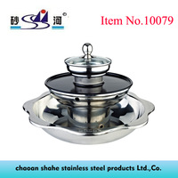 Stainless Steel 3 Layer Pagoda Hot Pot,At The Same Time Can Be Steamed Grill Shabu Cooking 3 Different Taste