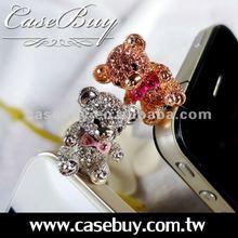3.5mm plug teddy bears decoration mobil phone