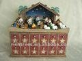 de navidad de madera natividad del calendario de adviento 24 con accesorios hechos a mano