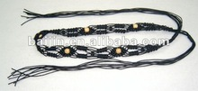 womens braided belt with wooden beads