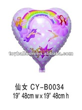 Cartoon Fairy Printed Heart-Shaped Automatic sealing&aluminum foil balloons