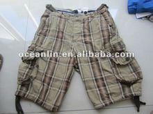 2012 mens fashion yarn dyed cargo shorts with many pockets