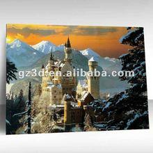 3d lenticular landscaping picture of old castle 3d landscape oil painting (OL-003)