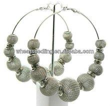Basketball Wives Earrings 9pcs Mesh Ball With 8mm Crystal Wheel 8cm Hoop Earring BWE92