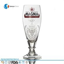 promotional german print tulip fluted pilsner beer glass with stem