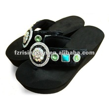 EVA Sole Horse Hair Upper New High Heel Style Fashion Slipper with Jewel for Women
