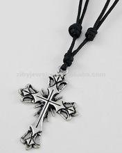 Burnished Silver Tone Metal / Black Cord / Lead Compliant / Cross Pendant / Adjustable Necklace