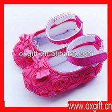 La danza oxgift niñas zapatos de bebé, zapatos de bebé niño, rosas rojas arco zapatos de bebé