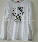 Casual plain white printed long sleeve 100% cotton t shirts for ladies women