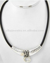 Antique Silver Tone / Black Cord / Lead Compliant / Pendant Attachable Filigree Necklace
