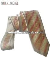 Orange stripes Men's 100% Silk Woven Necktie