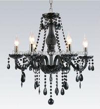 6 Arm BLACK CRYSTAL CHANDELIER LIGHT Large Metal Pendant Ceiling Lamp