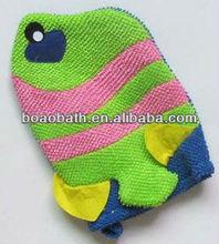 animal shape baby bath sponge gloves golden fish shape