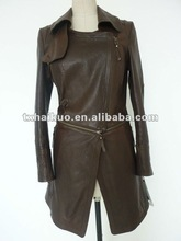 Ladies lapel collar with loop back punching laser cut zip around waist long leather coat