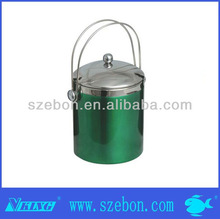 green stainless steel ice bucket with tong and lid