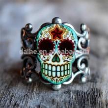 Day of dead filigree sugar skull ring in an atiqued silver finish antique skull ring DH-FR4096