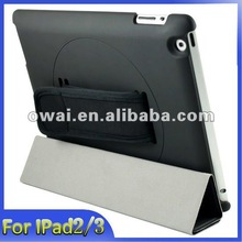 New style, high quanlity Leather case with stylus holder for ipad 3, 360 Rotating Handhold case Cover for the new iPad