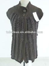 rabbit fur knitting vest/ sleeveless