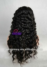 180%Density Fashion Wavy Brazilian Virgin Human Hair Full Lace Wigs