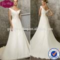 Goingwedding Special Design V-neck Saudi Arabian Wedding Dress Wholesale Price A Line Wedding Dress Pattern 2014 M041
