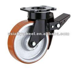 91 Cast iron PU super heavy duty caster wheel
