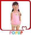 Ballet de color rosa vestido de una sola pieza traje de baño niñas bebés trajes de baño traje de baño para resorte caliente