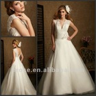 AL-2450 Best Sale V-neck Strapless Lace Top China Suzhou Wedding Dress