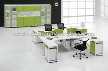 2012 Hot-sale Modern Four Seats MFC and steel frame Office workstation Desk furniture with mobile cabinet TA010