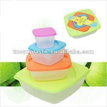 Square plastic pp sel tight food container 4pc set