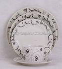 white and blue square ceramic dinnerware set 20pcs ,excellent porcelain tableware set