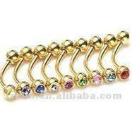 Fashion gold plated titanium 14g diamond eyebrow rings hot sale piercing jewelry